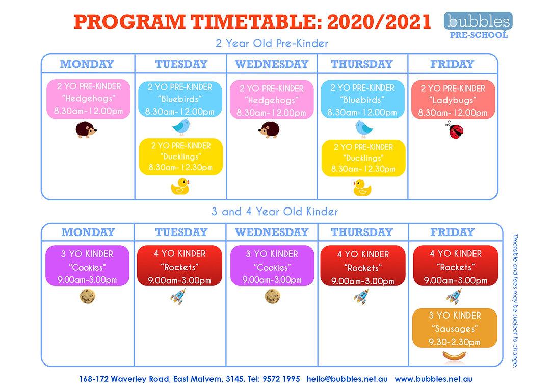 Bubbles PreSchool Timetable 2020 2021  j