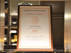 JW Marriott Hotel Bangkok is the world's first JW to earn The PLEDGE™ on Food Waste certification