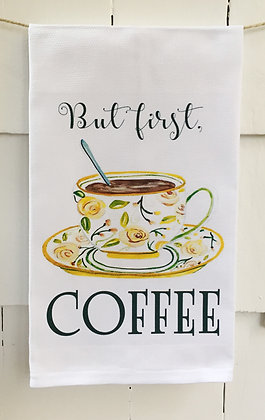 But First Coffee - Cotton Huck Kitchen Towel