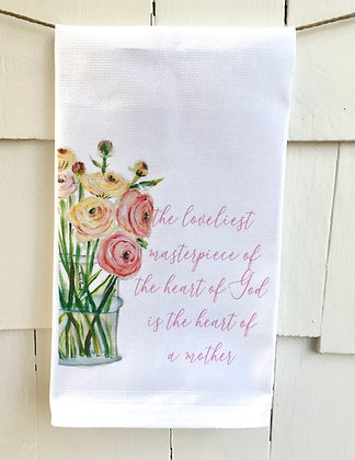Heart of a Mother #12 Cotton Huck Kitchen Towel