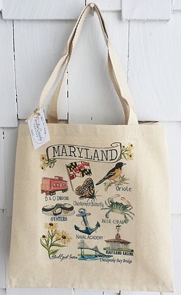 State of Maryland Icons -Large Tote Bag