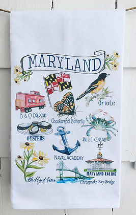 State of Maryland Icons - Cotton Huck KitchenTowel