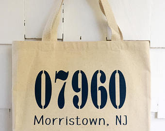 Zip Code and Town Name Tote Bags -Size Large