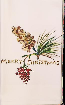 "#4086 ""Merry, Merry""  Cotton Huck Kitchen Towel"