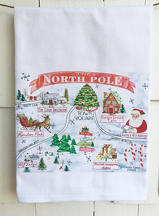 North Pole Map  #31-Cotton Huck Kitchen Towel