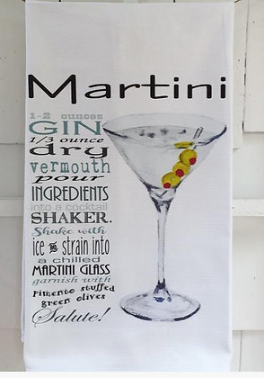 Martini Recipe -Kitchen Towel