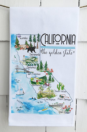 State of California Icons - Cotton Huck KitchenTowel