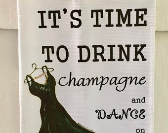 Champagne Time- Cotton Huck Kitchen Towel