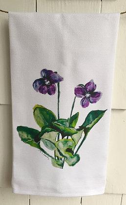 Violets #3011 -Cotton Huck KitchenTowel