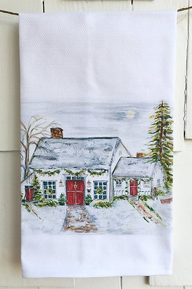 Snow Cottage #5096 Cotton Huck Kitchen Towel