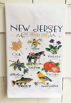 New Jersey State Icon Design Cotton Huck Kitchen Towel
