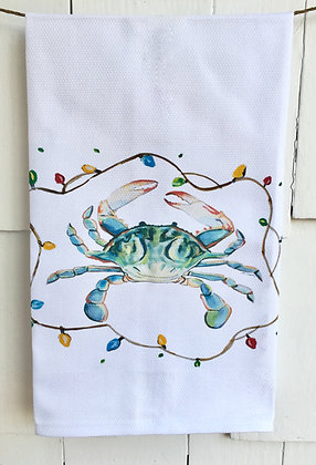 Christmas Crab #0122 -Cotton Huck Kitchen Towel