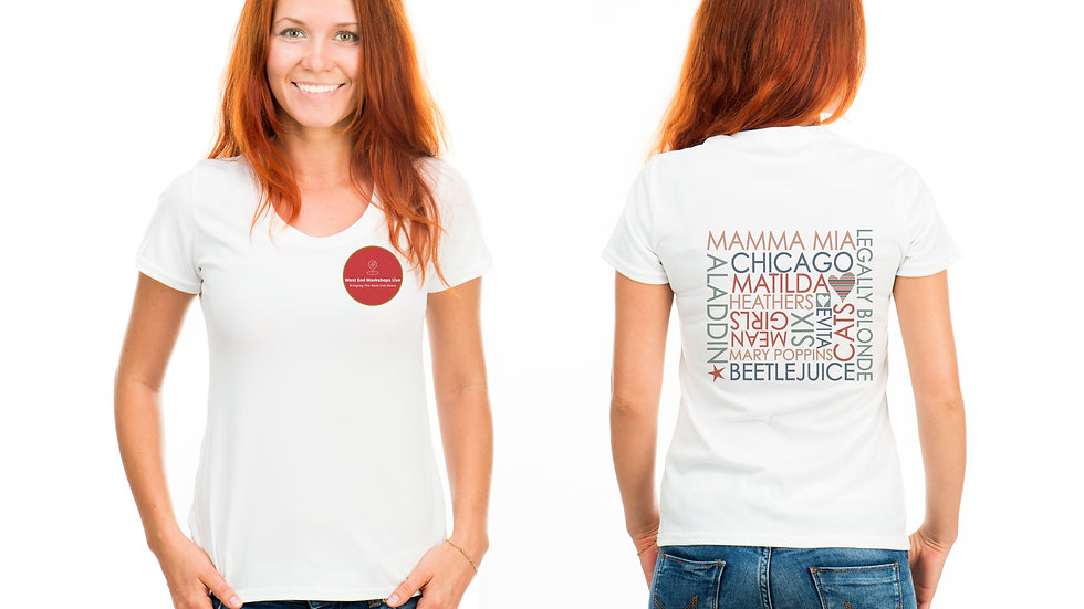 Female Adult White T-shirt with Shows
