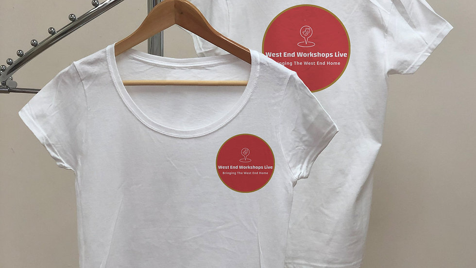 Female Adult White T-Shirt West End Workshops Live