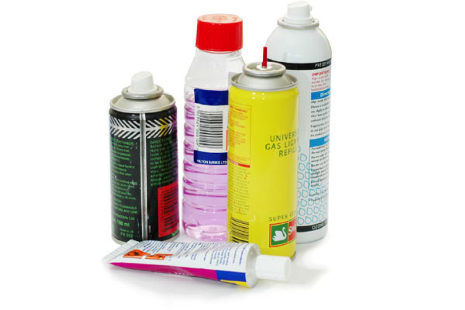 Glues, gases, solvents
