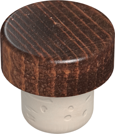 Walnut varnish wood with beige synthetic shank, 22.5 mm