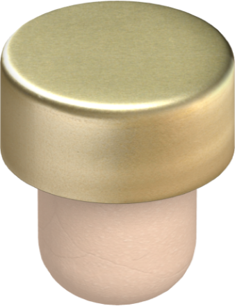 Gold aluminum with beige synthetic shank, 19.5 mm