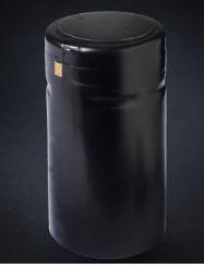 30.5 mm x 60 mm black semi-matte PVC heat shrink capsules