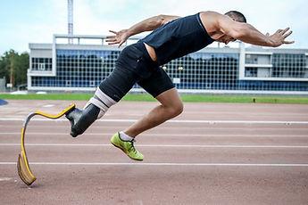 The handicap athlete preparing to start