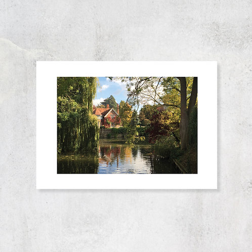 Chilterns Goring village A4 Art Print with Card Mount