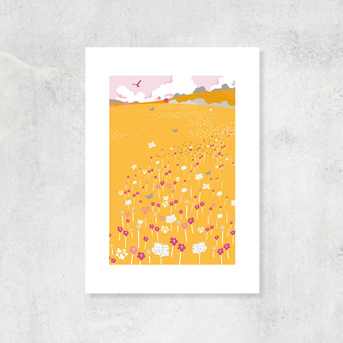 Butterfly Meadows A4 Art Print with Card Mount