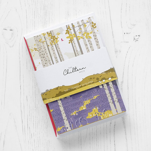 Set of 8 A6 Chiltern Hills Notelets with White Envelopes