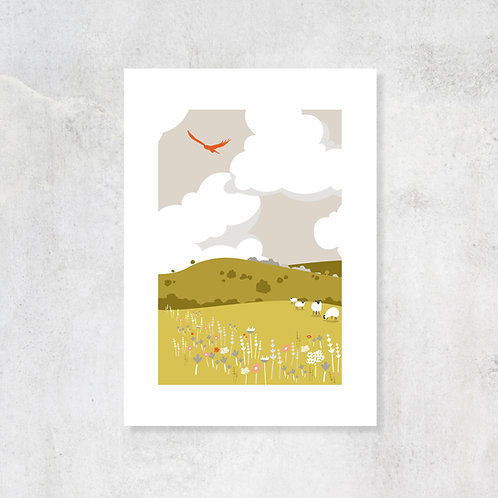 Rolling Hills A4 Art Print with Card Mount