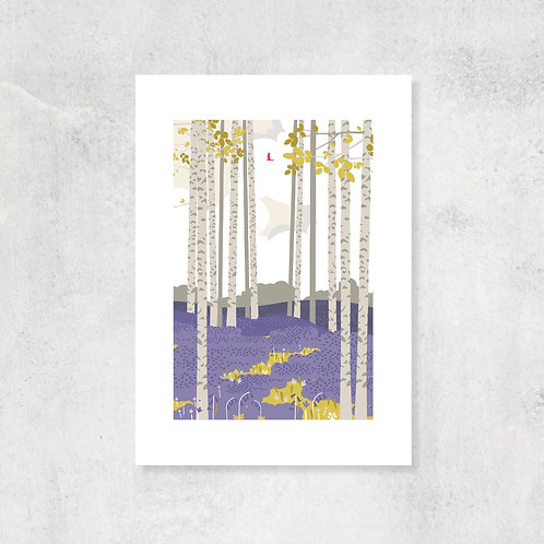 Bluebell Haze A4 Art Print with Card Mount