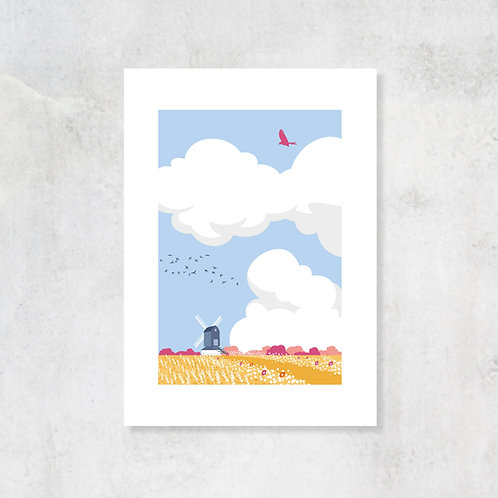 Big Skies and Windmill A4 Art Print with Card Mount