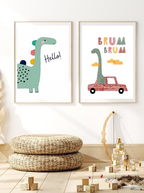 Stampe Brum Brum - Coppia - Collezione Hello Dino!