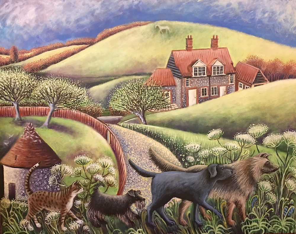 Here is a recently finished commission which was a record of the 4 animals going home at night following Lorraine to her house. They sadly are all now dead but have had a lovely life and lots of love....