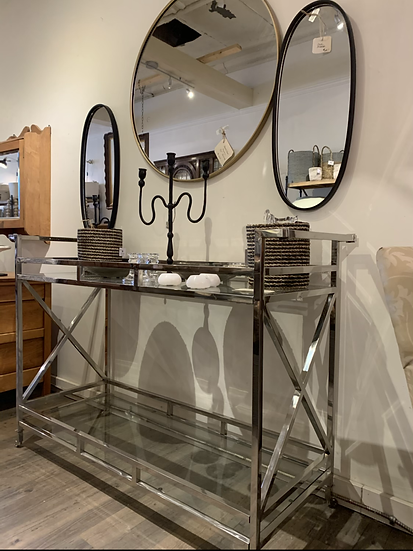 Chrome and Glass Bar Cart/ Console