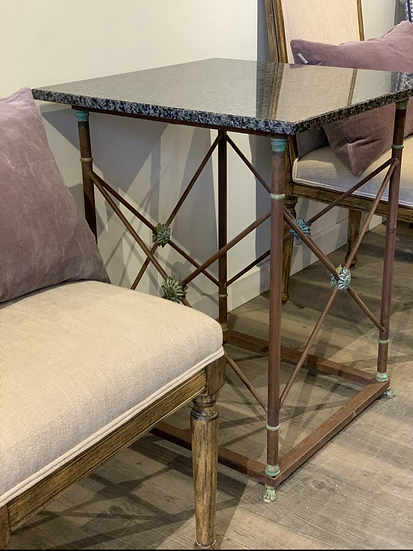 Marble top French metal tables ... pair