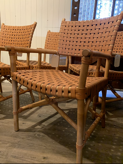 Bamboo and Leather Armchair