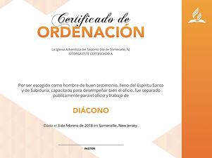 CERTIFICADO DE DIÁCONOS Y DIACONISAS
