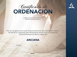 CERTIFICADO DE ORDENACION DE ANCIANA