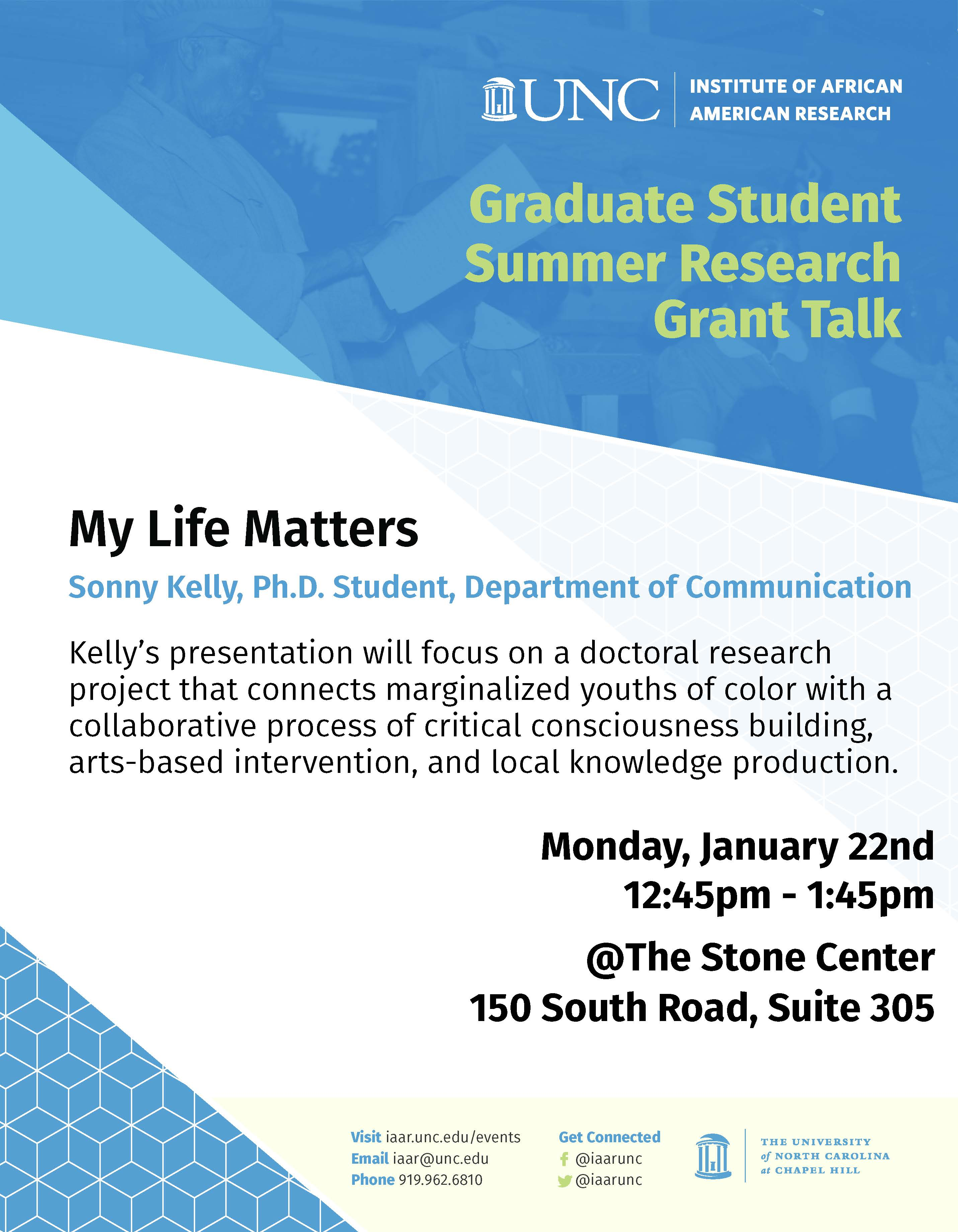 IAAR Grad Lecture - Sonny Kelly - My Life Matters