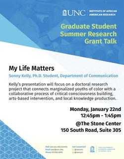 IAAR Grad Lecture - Sonny Kelly - My Life Matters