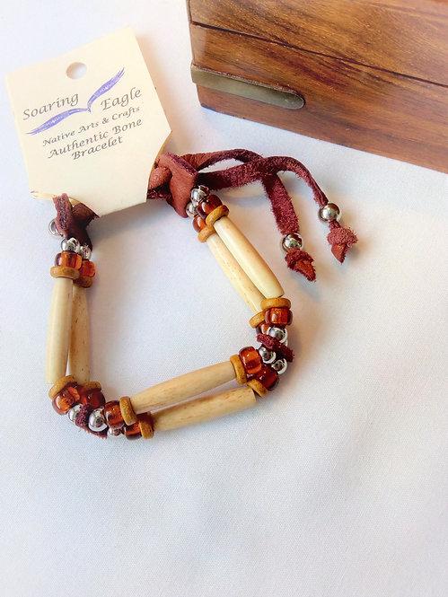 Soaring Eagle Native American Bone and Deerskin 2 Row Wristband