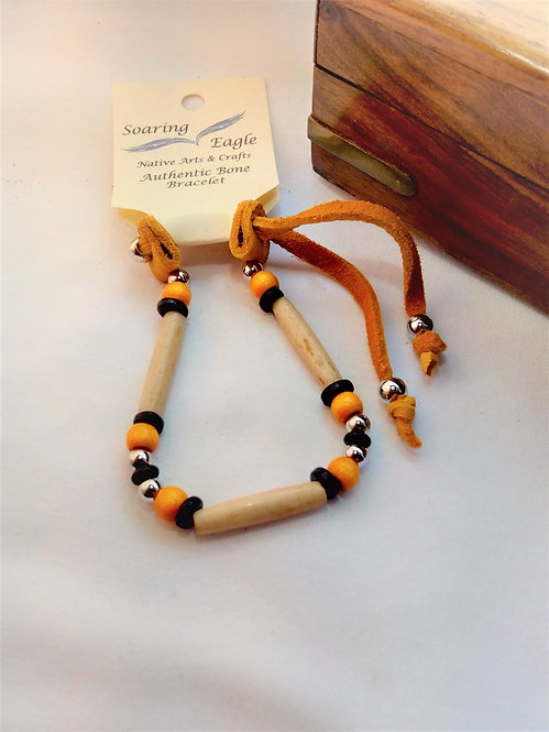 'Soaring Eagle' Bone and Deerskin 1 Row Wristband yellow