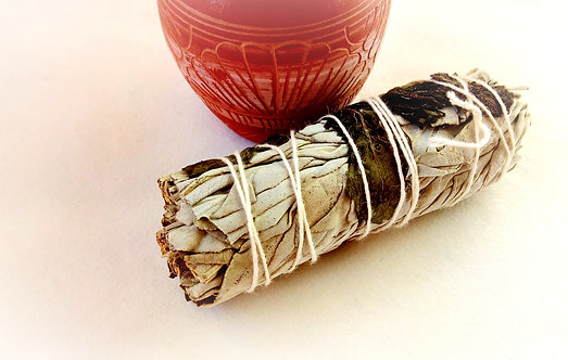 "Californian White Sage and Peppermint 4"" Smudge Stick"