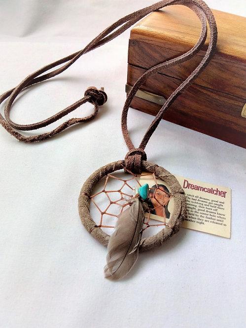 Navajo Leather Dream Catcher Necklace