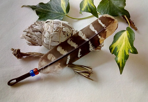 Smudging Set with 'Standing Bear' Striped Feather