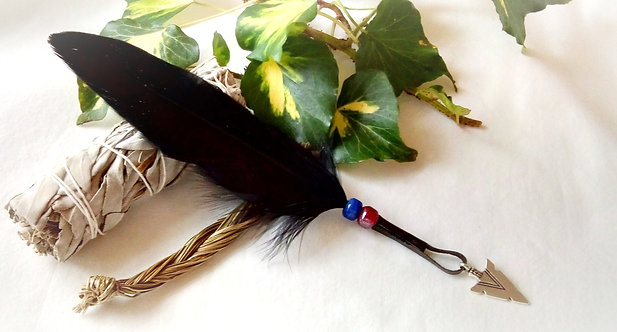 Smudging Set with 'Standing Bear' Feather with Arrowhead Charm