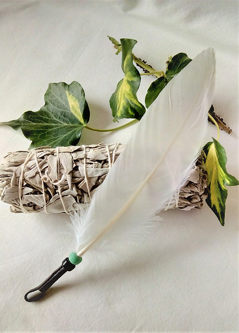 """Smudging Set with White 'Standing Bear'  Feather + 5"""" Smudge Stick"""
