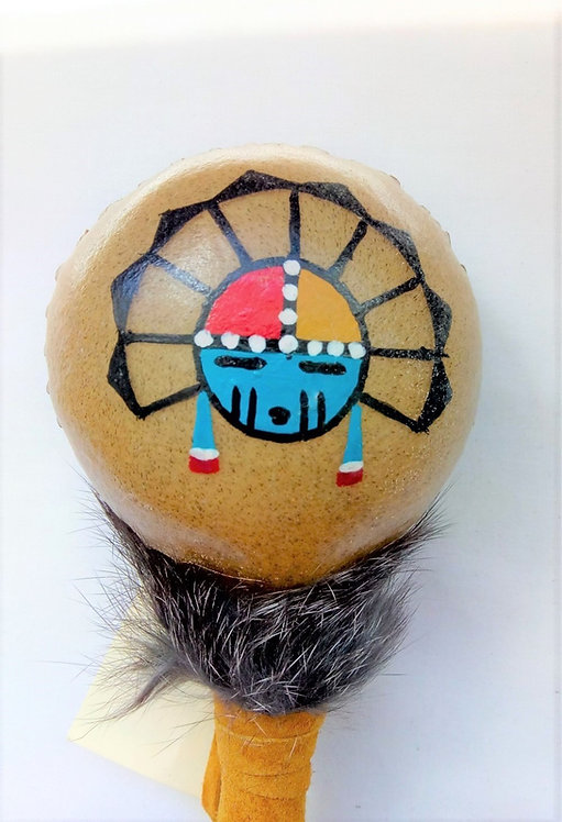 Navajo Rawhide Rattle with Sunface Design head detail