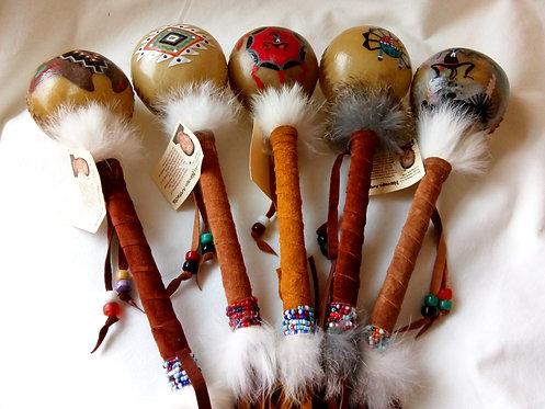 Navajo Rawhide Rattle Assorted Designs (28cm)