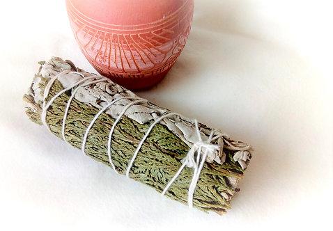 "Californian White Sage and Cedar 4"" Smudge Stick"