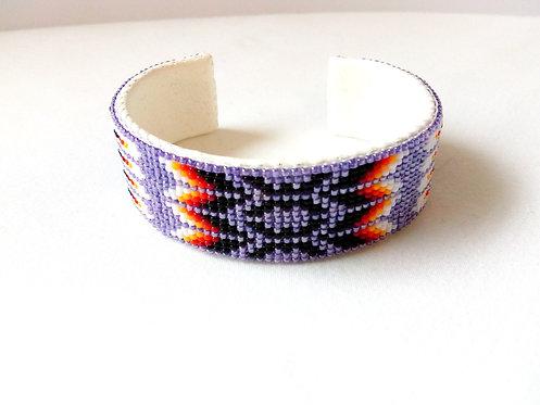 Navajo Beaded Purple  Bracelet 2cm