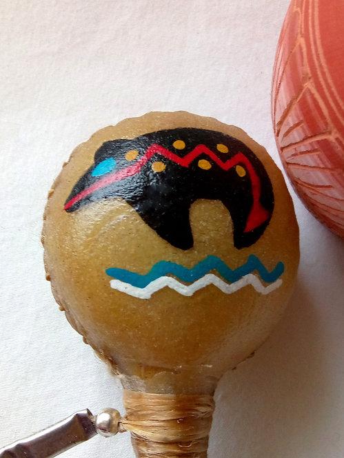 Navajo Native American 19cm rawhide rattle bear design head detail